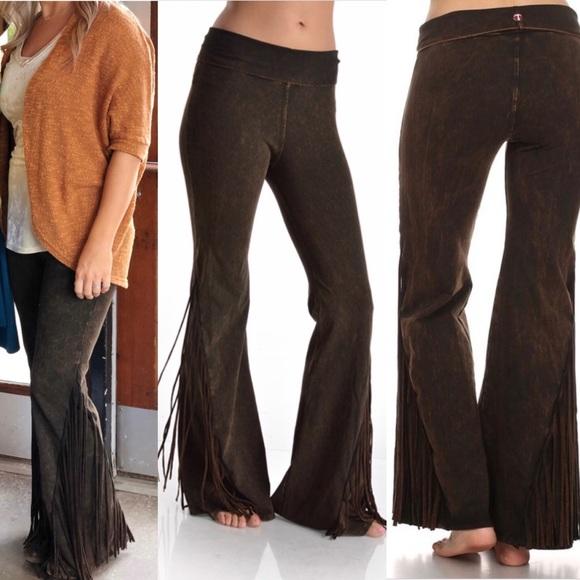 95844db89299e T Party Fashion Pants   Tparty Mineral Wash Fringe Yoga Pant   Poshmark